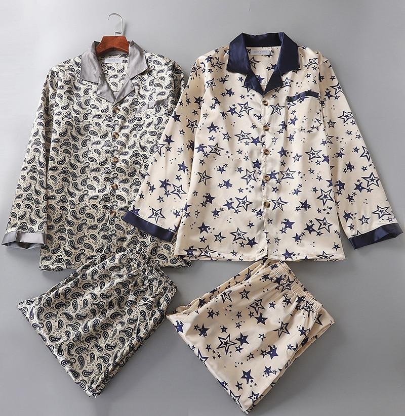 Spring New Men's Silk Nightwear Pjamas Home Suit Long Sleeve Men Pajamas Turn-down Collar Sleepwear Luxury Men Clothing Pyjamas