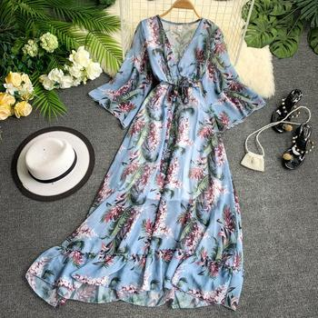 2019 summer women's ruffled beach dress V-neck 5 points  flare sleeves thin printed flowers chiffon long dress fashion big swing