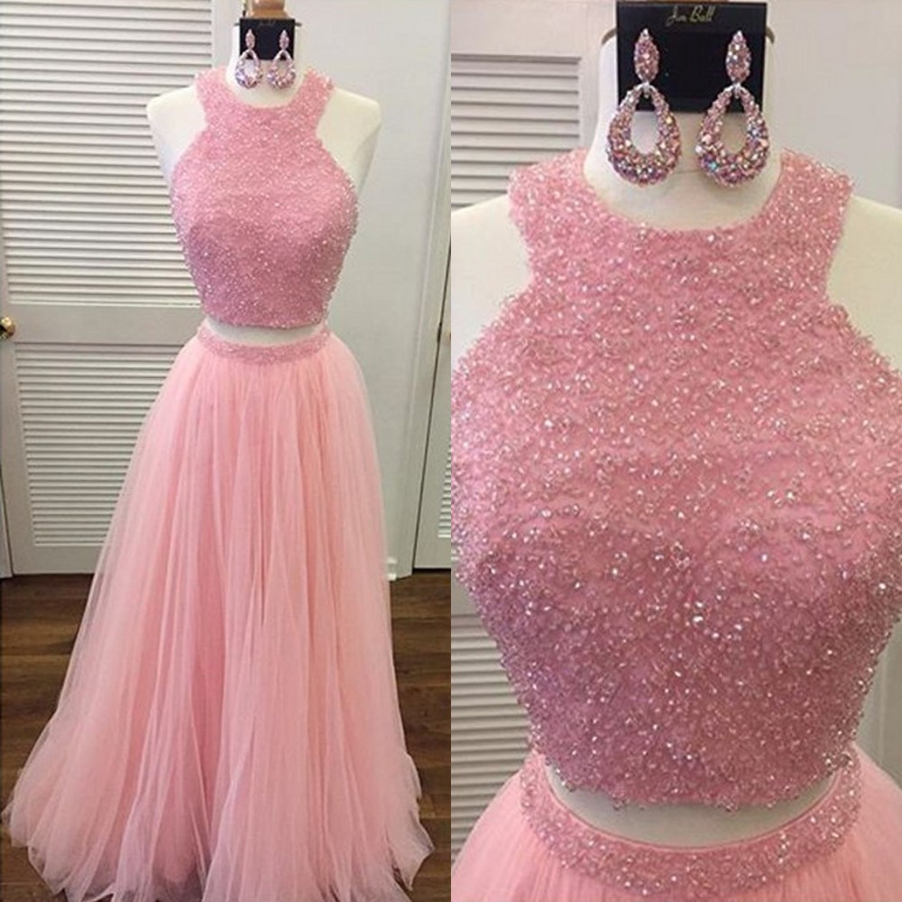 High Quality Pink Tulle 2 Piece   Prom     Dresses   Beaded Lace Tulle A Line Crop Top Long Evening Party Gowns Custom Made Women   Dress