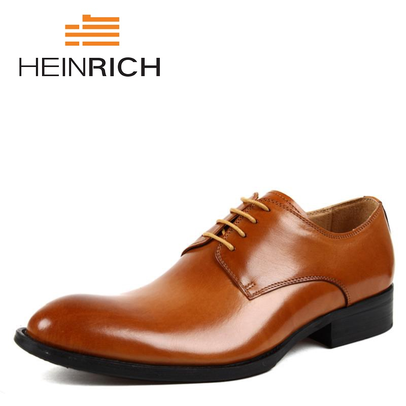 HEINRICH Men's Pointed Toe Shoes Spring Autumn Men Formal Wedding Shoes Luxury Men Business Dress Men Shoes Herren Schuhe heinrich spring autumn vintage style formal shoes derby dress shoes men high quality classic business shoes sepatu kantor pria