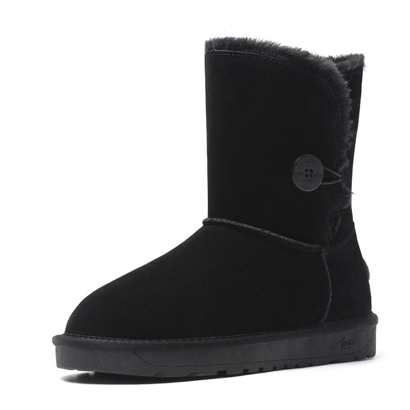 ZUZI Women Snow Boots High Quality Genuine Leather Mid-Calf One-Button Warm Winter Boots botas mujer Large Size 35-44 prova perfetto winter women warm snow boots buckle straps genuine leather round toe low heel fur boots mid calf botas mujer