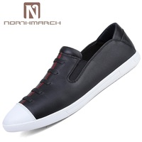 NORTHMARCH Men Shoes Genuine Leather Comfortable Casual Men Shoes Breathable Elastic Band Leather Loafers Summer Shoes