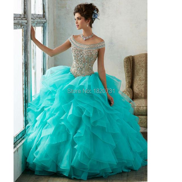 Cinderela Quinceanera Colher Pescoço Ball Vestido Azul Vestidos Quinceanera 2017 Luxo Frisado Lantejoulas Vestidos de Debutante 15 Anos