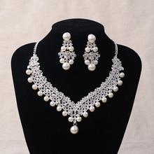 Crystal Pearl Jewellery sets New Design Rhinestone Choker Necklace/ Earrings