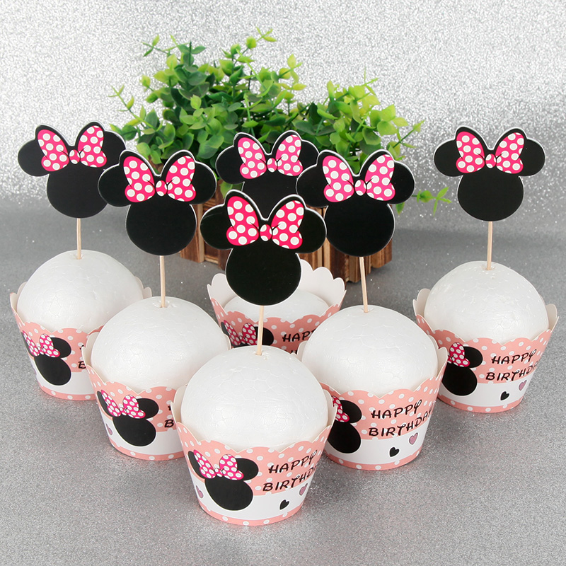 Fine 12Pcs Wrappers 12Pcs Toppers Minnie Mouse Paper Cupcake Cake Birthday Cards Printable Trancafe Filternl