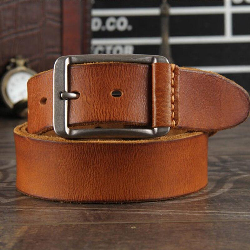 Nouveau 2019 crazy horse ceinture en cuir de vachette ceinture en cuir véritable pour hommes marron boucle ardillon sangle de jean vintage cinto A + cuir