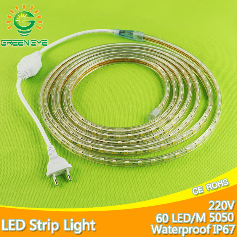 1m~25m Led Strip With EU Plug Waterproof IP67 SMD5050 LED Tape AC220V Flexible 60 leds/Meter Outdoor Indoor Lighting Strip Light