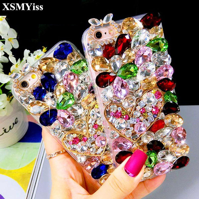 XSMYiss Bling Lovely Crystal Diamonds Rhinestone <font><b>3D</b></font> Stones Phone Case Cover for <font><b>Samsung</b></font> A8 A6 PLUS A50 A70 A90 j6 j8 2018 <font><b>j5</b></font> j7 image