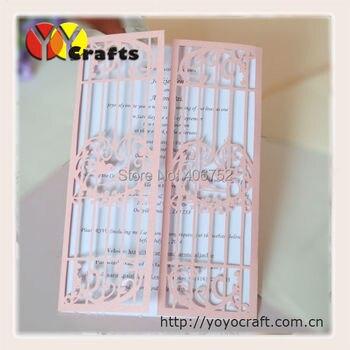 Love birds laser cut customized wedding invitations folded wedding invitation card 75 sets/lot