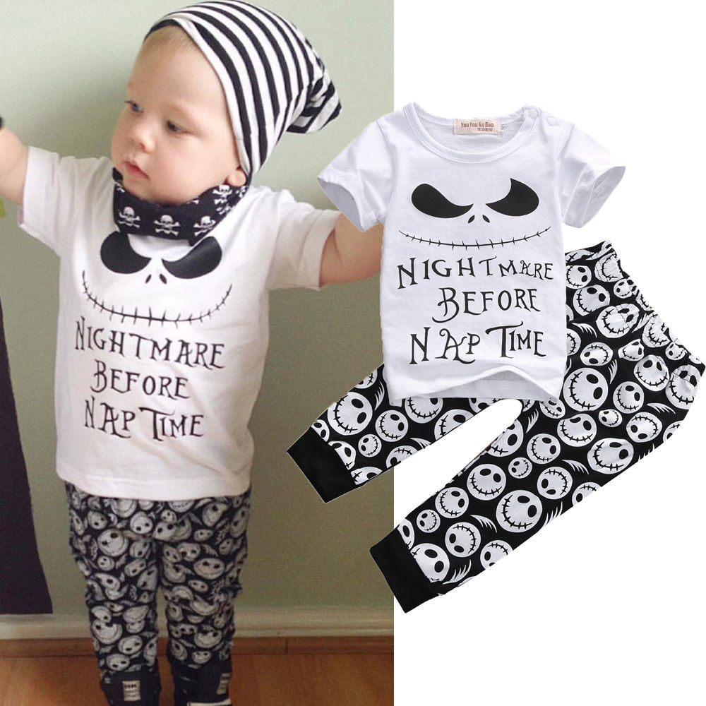 2PCS Set Newborn Toddler Kids Baby Boys Clothes Set Skull Outfits Clothes T-shirt Tops + Pants 2pcs Clothing newborn kids baby boy summer clothes set t shirt tops pants outfits boys sets 2pcs 0 3y camouflage
