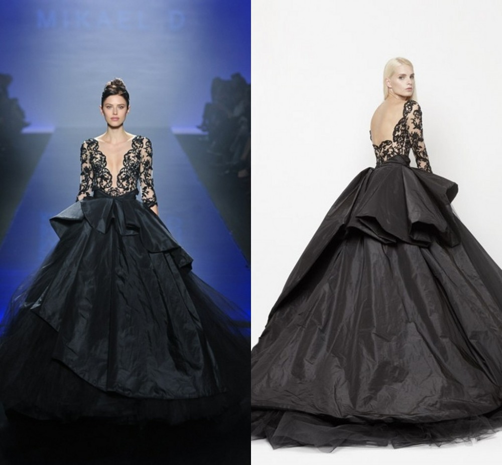 Popular Ball Gown Evening Dresses Black Lace Appliques-Buy Cheap ...