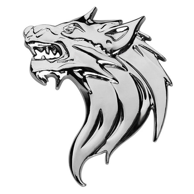 3D Metal Decal Sticker Silver Right Wolf Head Car//Motorcycle Logo Badge Emblem