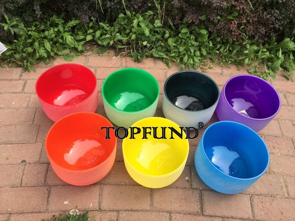 TOPFUND 432 Hz Chakra Tuned Set of 7 Frosted Colored Quartz Crystal Singing Bowls 8-10 chakra tuned set of 7 frosted gem fused quartz crystal singing bowls 8 12 8a b g 10 c d e and 12 f