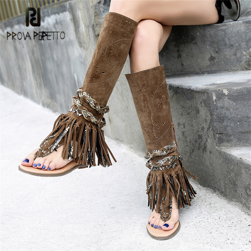 купить Prova Perfetto Suede Women Summer Boots Flat Sandals Knee High Boots Fringed Female Hollow Out Gladiator Sandal Flats в интернет-магазине