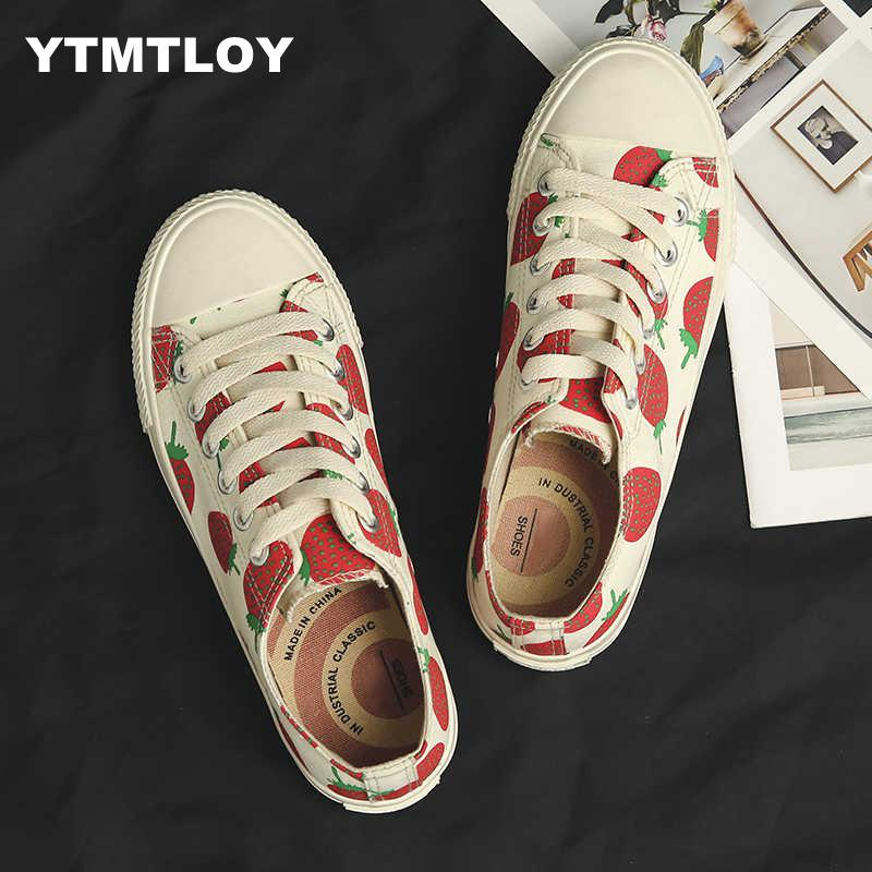 Canvas Shoes for Women Sneakers Strawberry Print Vulcanized Girls Female zapatillas mujer High-top White   Sneakers WedgeCanvas Shoes for Women Sneakers Strawberry Print Vulcanized Girls Female zapatillas mujer High-top White   Sneakers Wedge