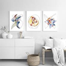 Abstract Geometric Poster Canvas Art Print Minimalist Painting Fashion Dance Of The Wind Wall Pictures Nordic Style Home Decor(China)