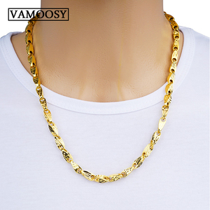 Image 1 - Real Necklaces for Men Melon Seed Design 100% 24K Gold Hollow Curb Link Chains Necklace 2018 Fine Jewelry Collier Free Shipping