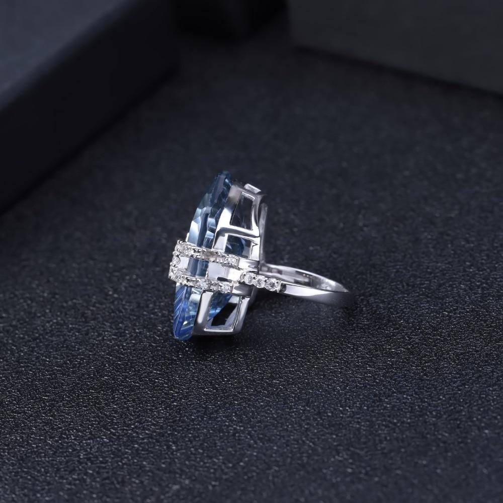 Image 4 - Женские коктейльные кольца gembs BALLET 21.20Ct, Natura Iolite,  голубой мистический кварцевый камень, стерлингового серебра 925  пробыКольца