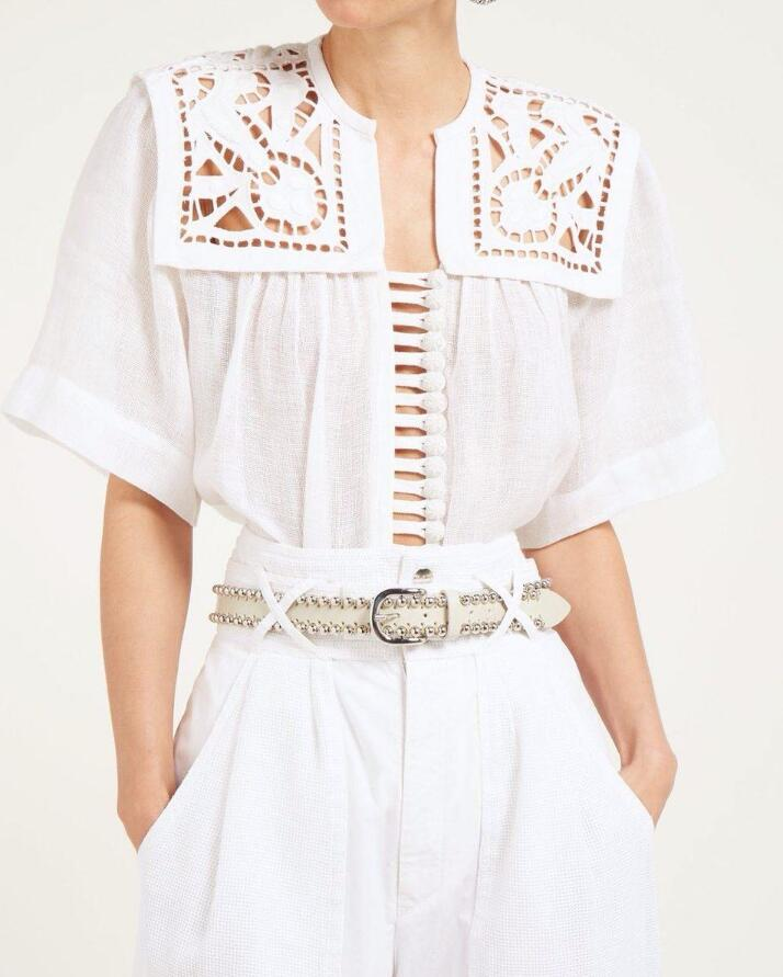 White Woven linen Gane blouse Lace yoke insert Pleated back Embroidered buttons front placket short sleeves