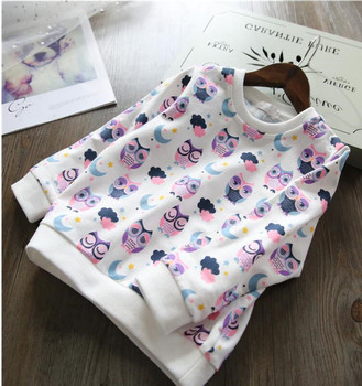 YO32064032 2018 Spring Baby Girl Top Print Animal Owl Toddler Girl Tee Full Sleeve Fashion Kids Sweatshirt Girls Clothes