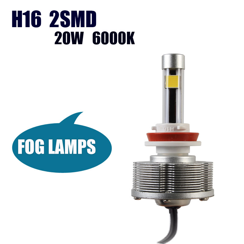 New H16 2SMD Auto led Fog Light Light Sourcing Factory Direct H16 20W 6000K LED Cars Bulbs