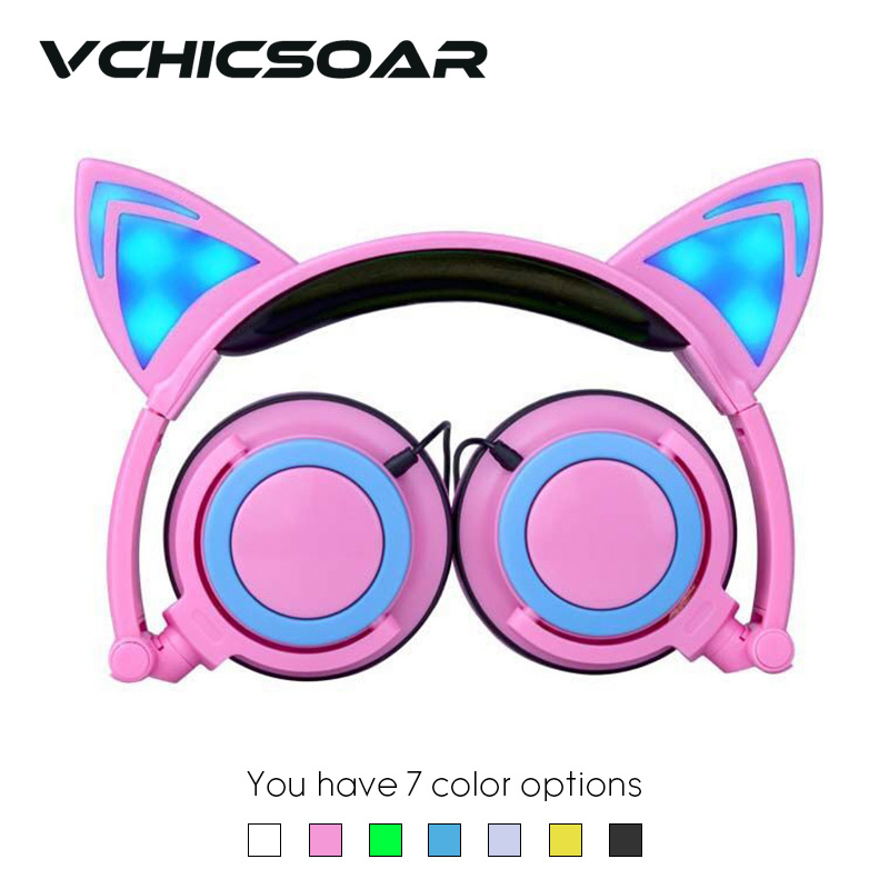 2017 New Cat Ear Headphones Foldable Glowing Gaming Headset Earphone with LED Light for MP3 Computer Mobile Phones Girls Gifts foldable bear ear recharging headphones panda gaming headset with glowing led light halloweeen gift for girls kids adults phones