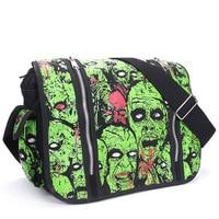 Men Women Unisex Zombie Attack Green Monster Gothic Waterproof Shoulder Cross Messenger School Work Bag