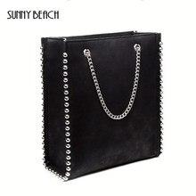 6a4273d5a7b63 SUNNY BEACH Frauen Tasche Schulter Kette Niet Einkaufen Metalli Luxus  Weibliche Handtasche Designer Mädchen Bolsas Dame pu Leder.