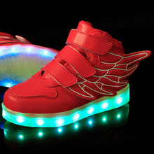 Casual Boys&Girls Luminous Sneakers USB Charging Light seven colors Led Children Shoes Glowing Lighted Size 25-37 spring,autumn