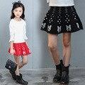 Primavera/Otoño Moda Tejer Faldas Niñas 5-18Years Ancianas Con Volantes Faldas Niza Casual Estudiantes de Diseño de La Mariposa Faldas