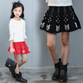 Spring/Autumn Fashion Knitting Skirts Girls 5-18Years Old Ladies Ruffled Skirts Nice Casual Butterfly Design Students Skirts