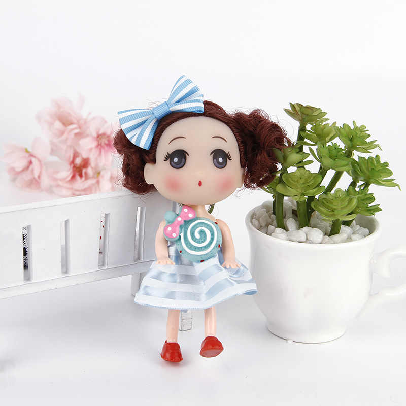 12 CM Striped lollipop girl Princess bride confused doll fat baby key chain bag pendant wedding dress creative gift doll toy