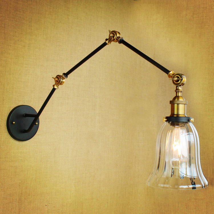 Glass Adjustable Swing Long Arm Wall Light Fixtures Loft Retro Vintage Industrial Wall Lamp Edison Arandela Aplique Murale 67050 hanging on the support arm swing arm control arms factory swing