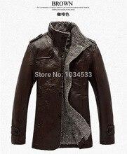 Men Winter Leather Jacket Coats Slim Solid Thickening Wool Windbreak Waterproof Parka Men's Fashion Warm PU Leather Jackets