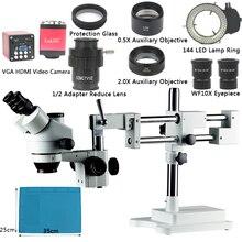 3.5X 7X 45X 90X зум Simul фокусным расстоянием ДВОЙНОЙ Boom Stand тринокуляр стерео микроскоп VGA HDMI видео Камера для телефона PCB пайки