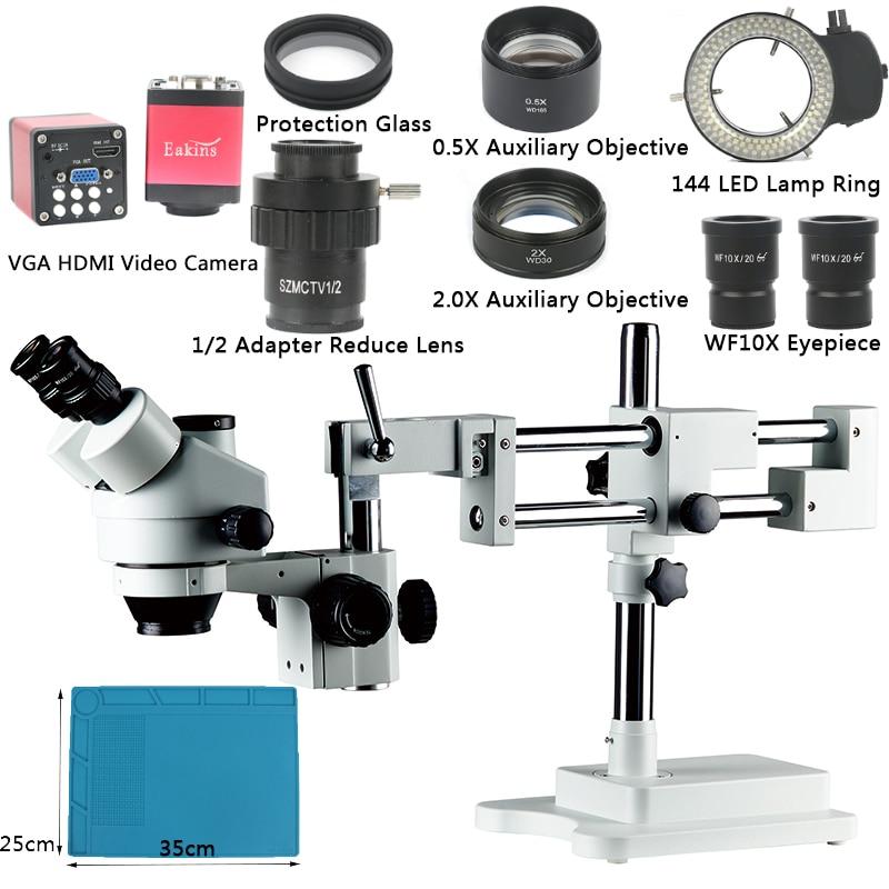 3.5X 7X 45X 90X Zoom Simul-focal Double Boom Stand Trinoculaire Stéréo Microscope VGA HDMI Vidéo Caméra Pour Téléphone PCB À Souder