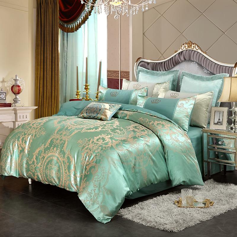 Gold White Blue Jacquard Silk Bedding Set Luxury 4pcs Satin Bed Sets Duvet Cover King Queen size Bedclothes Bed Linen Pillowcase
