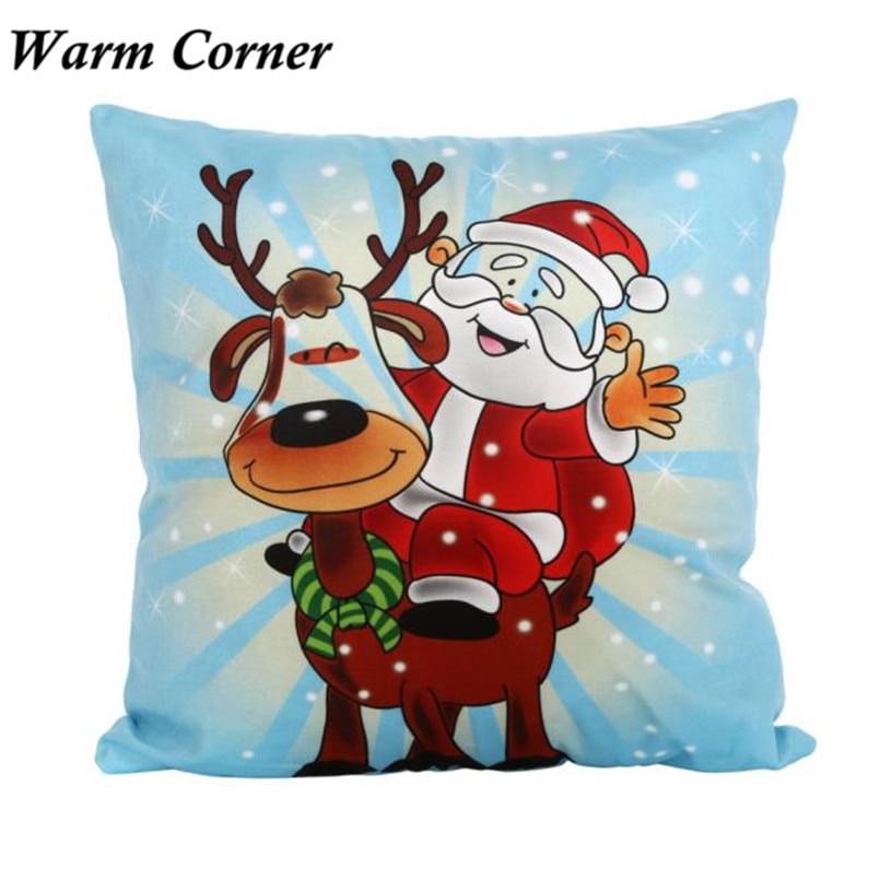 2017 New Arrival So Hot 45cm*45cm Vintage Christmas Deer Santa Soft Pillow Case Halloween Free Shipping Sept 23