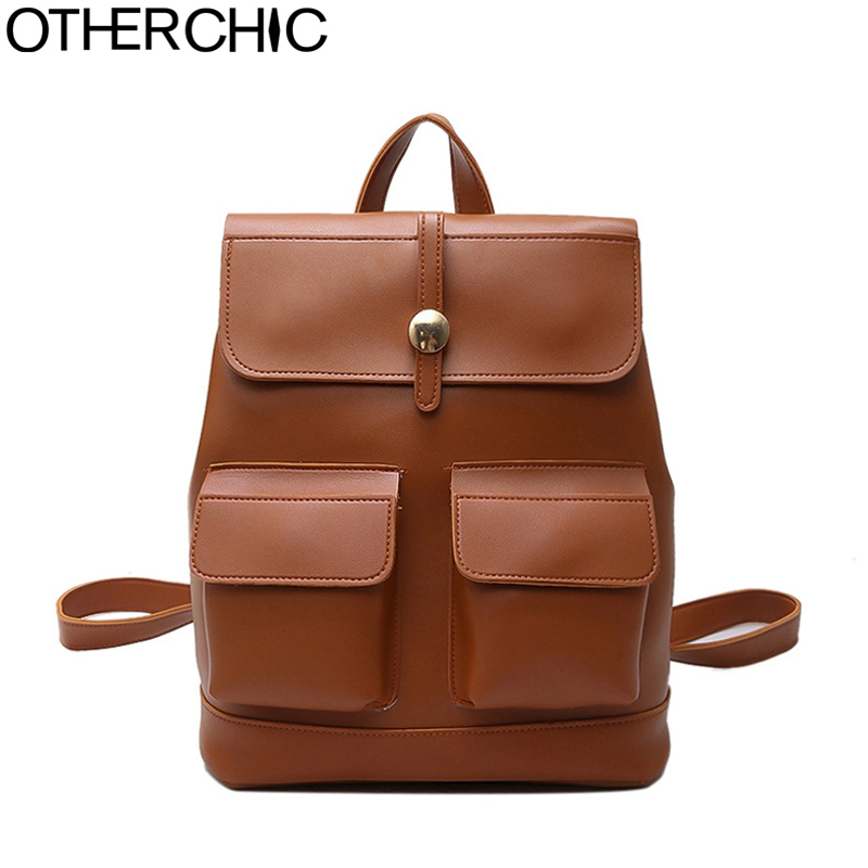 OTHERCHIC Women Backpack Vintage Fashion Solid School Bags for Girls High Quality Knapsack Women Bagpack Havesack