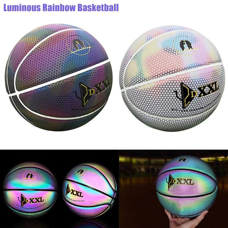 Leucht Straße Gummi Basketball Ball Nacht Spiel Zug PU Gummi Lumineszenz Glowing Regenbogen Licht Kinder Ausbildung Dropship