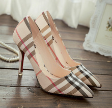Autumn new Ladies Pumps Plaid Classics Thin High-heel Shoes Women Stiletto Pump Casual Party Stripe Shoe