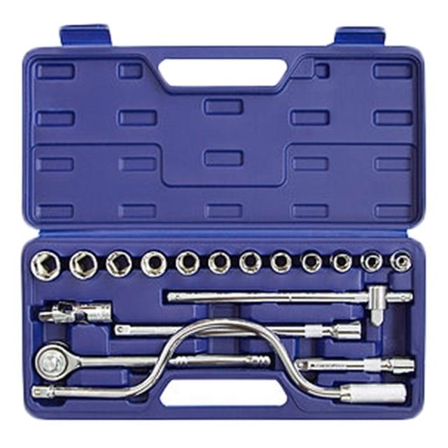 Набор ручного инструмента Helfer HF000003 (18 предметов, головок, вороток Т-образный, Трещотка, кардан шарнирный, кейс)