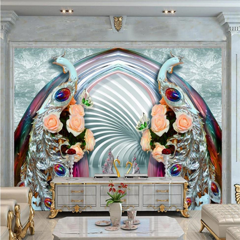 Custom wallpaper 3D diamond peacock jewelry mural living room TV background wall decorative painting