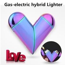 Heart Shape Gas-Electric Folding Lighter USB Electronic Charging Arc Plasma Lighter Flame Butane Gas Lighter Gadgets For Lover