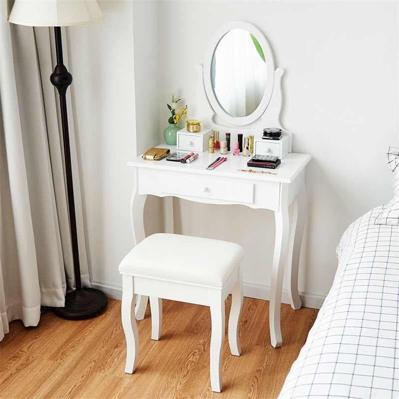 White Simple Vanity Makeup Table with Mirror + 3 Drawers Dresser Antique Paint Bedroom Furniture  Makeup Chair HB84003