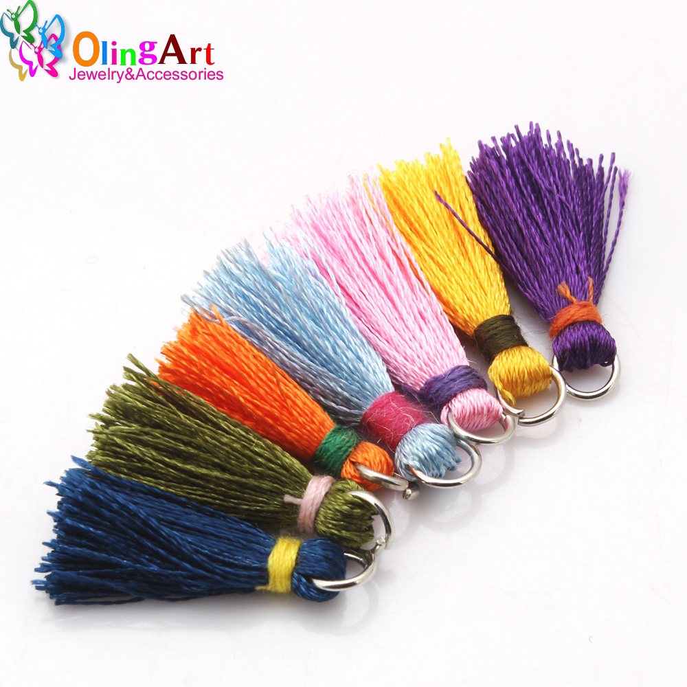 Olingart 10PCS/lot 2CM Two-tone Mini Silk Thread Tassel Pendant  Jewelry Making DIY Bracelet Cellphone /Pendant Finding Craft(China)