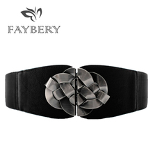 Elástico ancho Floral hebilla cinturones para mujeres de moda de mujer de  cuero negro de cintura 6c862623759