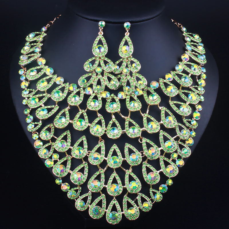 Luxury Full Rhinestones Wedding Necklace Earring for Women Party Accessories Crystal Decoration Bridal Jewelry Sets