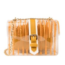 2019 Striped Clear Transparent PVC Women Messenger Crossbody Bag Chains Candy Color Jelly Summer Beach Bag