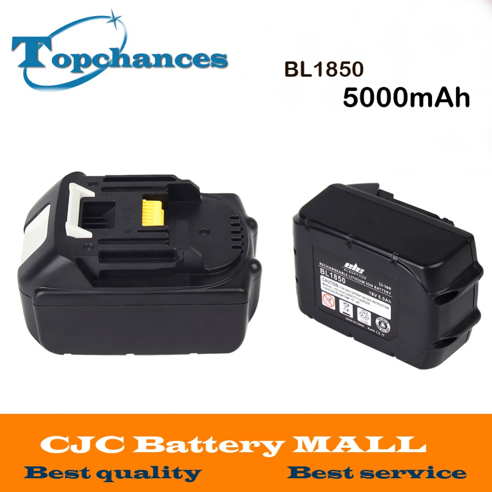 2PCS High Quality High Capacity 5000mAh 18V Li-ion Replacement Battery for Makita BL1850 BL1830 BL1845 BL1840 LXT 5000mah rechargeable lithium ion replacement power tool battery packs for makita 18v bl1830 bl1840 bl1850 lxt400 194205 3 p25